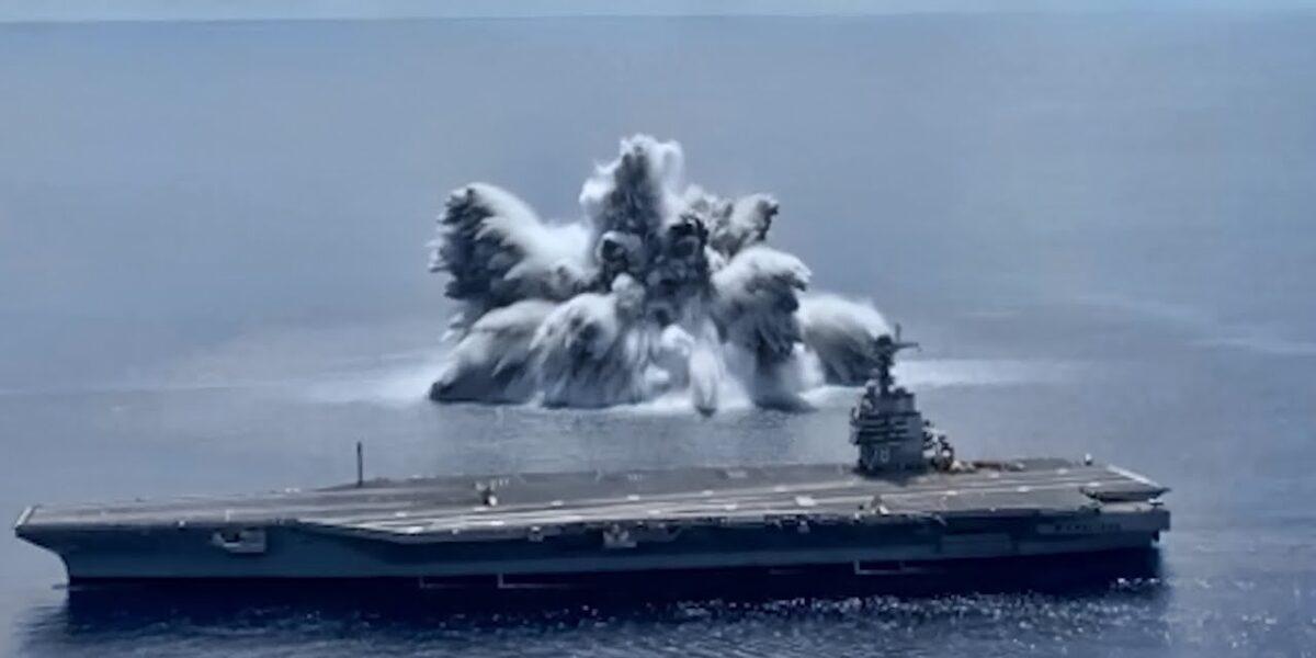 """USS Gerald R. Ford a trecut testul la șoc. Explozia subacvatică a produs un """"cutremur"""" de 3.9 pe Richter"""